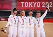 """<p>Biography: Dygert is 24, Valente is 26, White is 23 and Jastrab is 19</p> <p>Event: Women's team pursuit (cycling)</p> <p>Quote: """"The rides today were just absolutely phenomenal, and we are really, really proud to pull off what we did today … This past year has been full of a lot of struggles, and we're really proud to come away with bronze.""""</p>"""