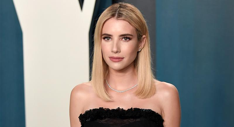 Emma Roberts showed off her glowing skin at Vanity Fair's Oscar Party in February 2020, and now she has revealed her go-to skincare regime. (Getty Images)
