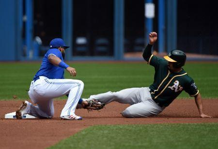 May 20, 2018; Toronto, Ontario, CAN; Toronto Blue Jays shortstop Richard Urena (7) tags out Oakland Athletics shortstop Marcus Semien (10) on an attempted steal of second in the first inning at Rogers Centre. Mandatory Credit: Dan Hamilton-USA TODAY Sports