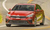 """<p>The <a href=""""https://www.caranddriver.com/kia/forte"""" rel=""""nofollow noopener"""" target=""""_blank"""" data-ylk=""""slk:Kia Forte"""" class=""""link rapid-noclick-resp"""">Kia Forte</a> sits between the smaller Rio and larger K5 in the Korean brand's lineup. It has front-wheel drive and is powered by a 147-hp inline-four. The six-speed manual might be our first choice, but the CVT saves on gas. It's especially good on the highway, with an EPA-estimated 41 mpg. An 8.0-inch touchscreen is standard, and the Forte was a Top Safety Pick by the IIHS.</p><ul><li>Base price: $18,885</li><li>Fuel Economy EPA combined/city/highway: 35/31/41</li><li>Horsepower: 147 hp</li></ul><p><a class=""""link rapid-noclick-resp"""" href=""""https://www.caranddriver.com/kia/forte/specs"""" rel=""""nofollow noopener"""" target=""""_blank"""" data-ylk=""""slk:MORE FORTE SPECS"""">MORE FORTE SPECS</a></p>"""
