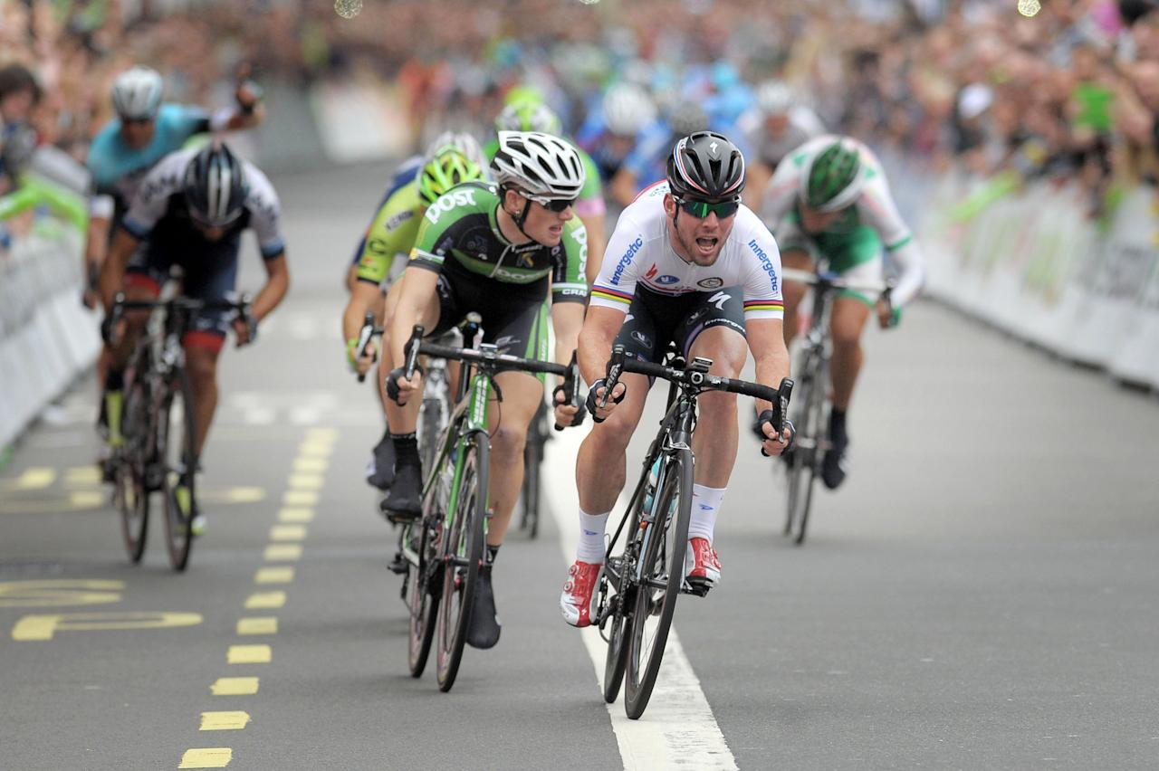 Omega Pharma-Quick Step's Mark Cavendish wins stage eight of the 2013 Tour of Britain in London.