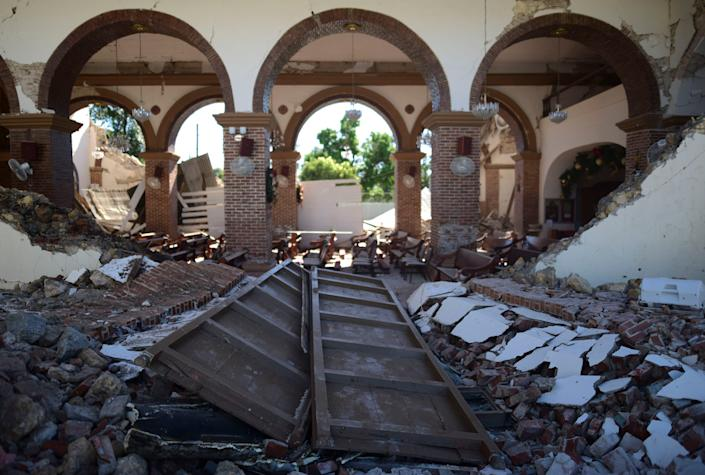The Immaculate Concepcion Catholic church is in ruins after an earthquake in Guayanilla, Puerto Rico, on Jan. 7. The 6.4 magnitude quake struck before dawn, killing at least one man, injuring others and collapsing buildings in the southern part of the island.