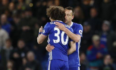 Britain Football Soccer - Chelsea v Southampton - Premier League - Stamford Bridge - 25/4/17 Chelsea's John Terry celebrates after the match with David Luiz Reuters / Stefan Wermuth Livepic