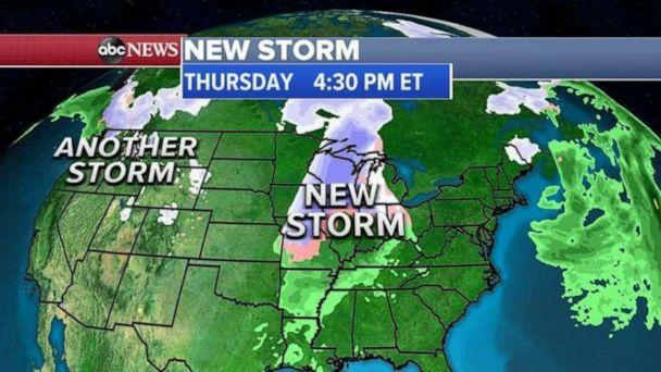 PHOTO: By Friday, the new storm will move into the Northeast but, because temperatures will be milder for the I-95 corridor, there will be rain rather than snow. (ABC News)