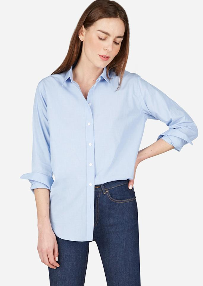 """Everlane The Relaxed Cotton Shirt, $65; at<a rel=""""nofollow"""" href=""""https://www.everlane.com/products/womens-relaxed-ctn-shirt-blue-end?collection=womens-tops"""" rel=""""""""> Everlane</a>"""