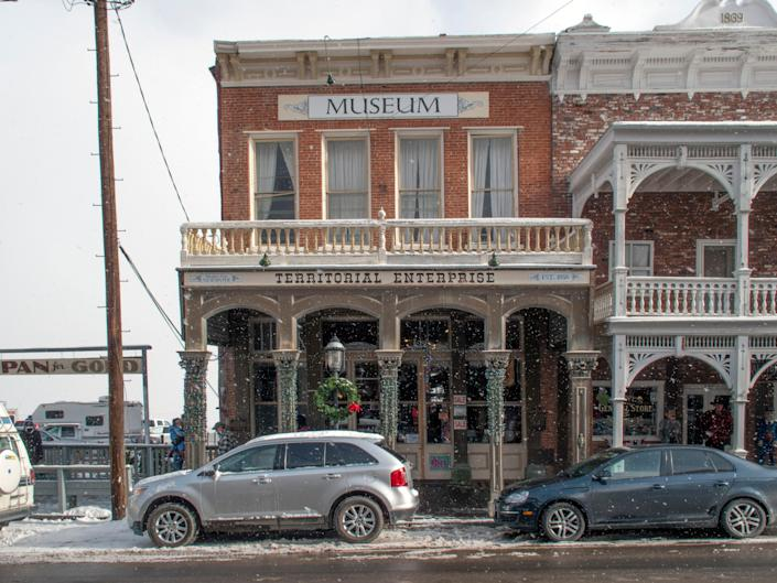a museum in virginia city, nevada during a snow storm