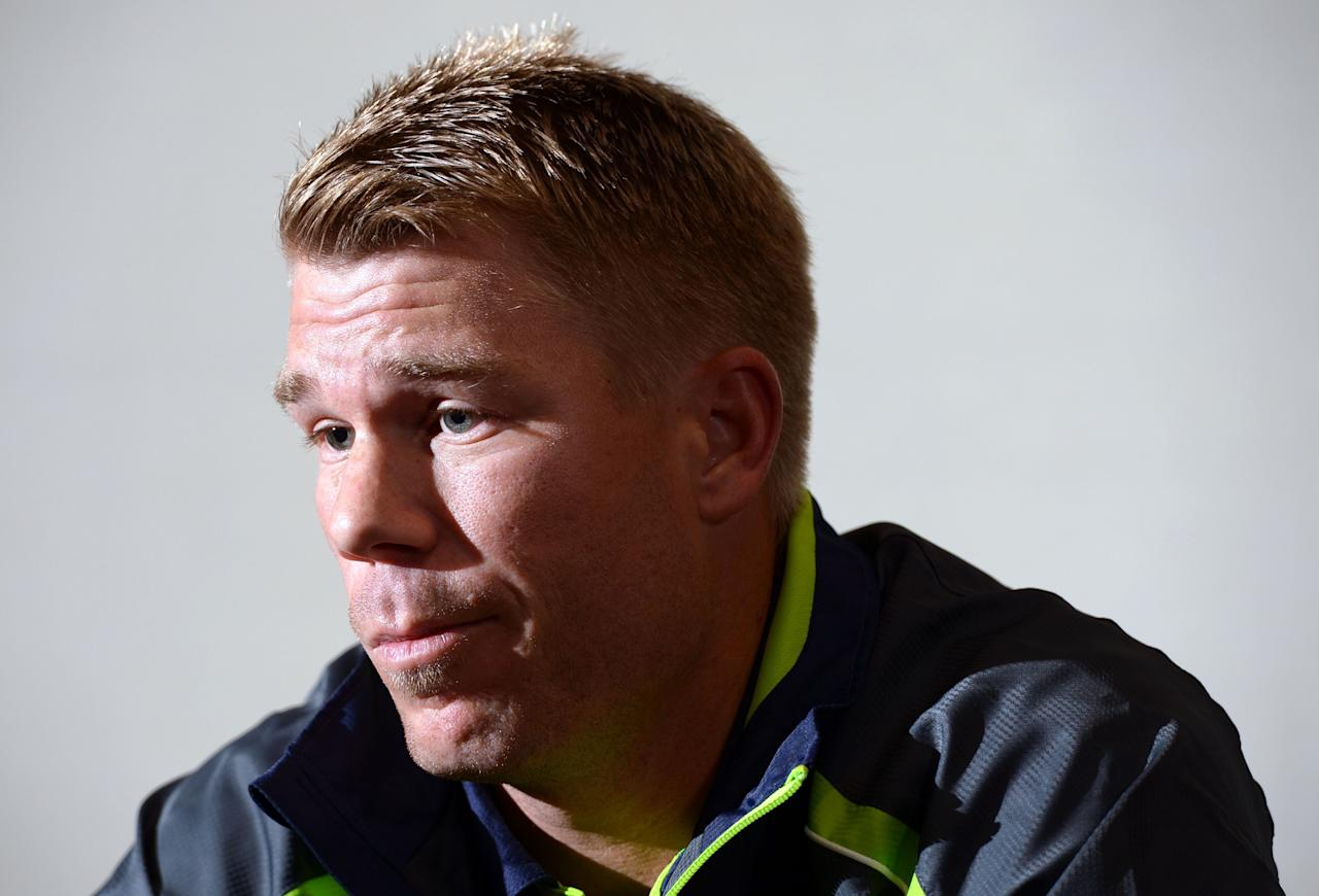Australia's David Warner during the ICC Champions Trophy match at the Royal Garden Hotel, London.