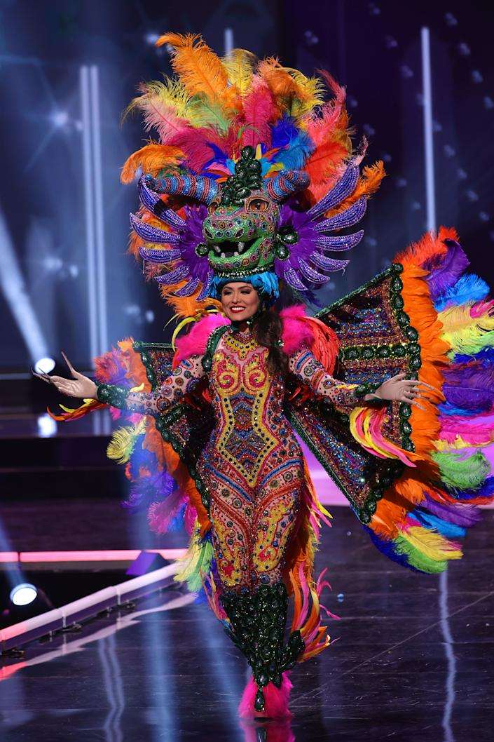 Miss Mexico Andrea Meza appears onstage at the Miss Universe 2021 - National Costume Show at Seminole Hard Rock Hotel & Casino on May 13, 2021 in Hollywood, Florida. (Photo by Rodrigo Varela/Getty Images)