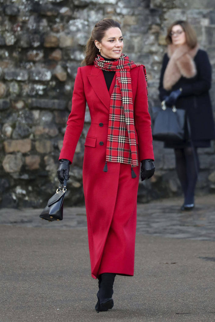 Britain's Kate Duchess of Cambridge at Cardiff Castle on Tuesday Dec. 8, 2020, in Cardiff, Wales. Prince William and Kate Duchess of Cambridge are undertaking a short tour of the UK by train ahead of the Christmas holidays to pay tribute to the inspiring work in local communities. (Chris Jackson/Pool via AP)