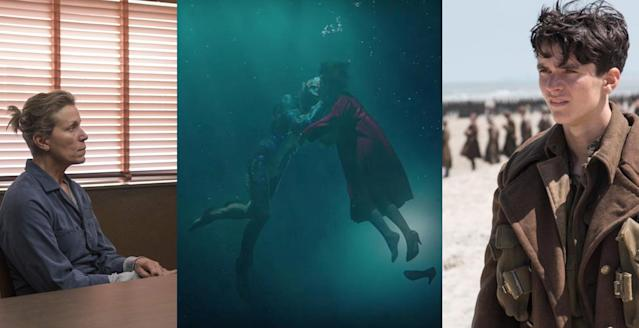 From left: <em>Three Billboards</em>,  <em>The Shape of Water</em>, and <em>Dunkirk</em> (Photo: Fox Searchlight/Warner Bros.)