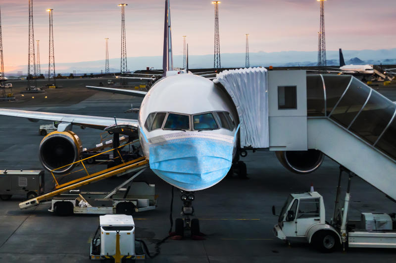 The concept of the spread of coronavirus in the world. Closing air traffic between countries. Photo: Getty