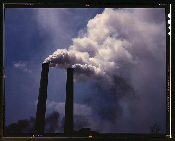 Sulfate-laden aerosols coming out of a U.S. smokestack in 1942.
