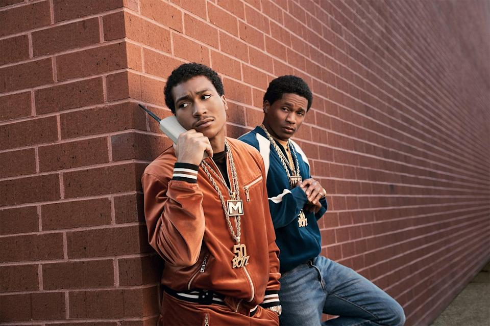 """<p>The brotherhood that we get to witness onscreen this season was in fact fostered organically before filming for the show even began. In an interview with <strong>Complex</strong>, Demetrius <a href=""""https://www.complex.com/pop-culture/demetrius-lil-meech-flenory-jr-da-vinchi-randy-huggins-bmf-interview"""" class=""""link rapid-noclick-resp"""" rel=""""nofollow noopener"""" target=""""_blank"""" data-ylk=""""slk:shared that the first time he and his costar Da'Vinchi met"""">shared that the first time he and his costar Da'Vinchi met</a> was actually on a Zoom call. """"It was just for Randy [Huggins] and the directors and the producers to see if we were a good match together, if we were going to be able to really be the brothers that they were looking for,"""" he said. """"But once they seen it, they knew it was us."""" When they officially got on set, the two got to know each other better and formed a close bond before they transitioned into their respective roles.</p>"""