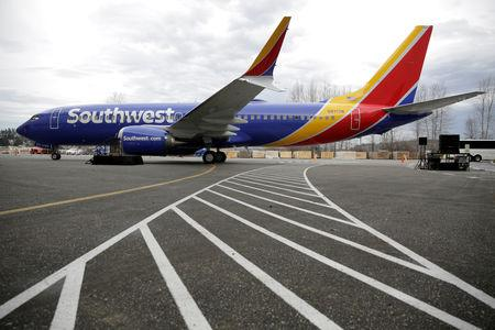 FILE PHOTO: A 737 MAX 8 produced for Southwest Airlines is pictured in Renton, Washington, U.S. March 13, 2018.