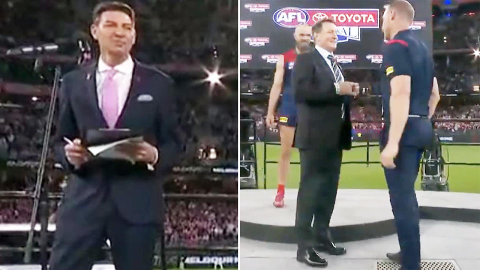 Basil Zempilas and Simon Goodwin, pictured here in the AFL grand final presentation.