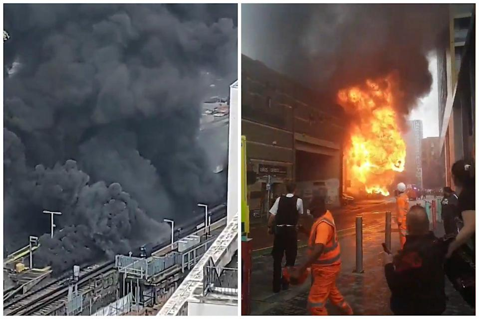 Fire breaks out at 'Elephant and Castle station' as plume of smoke rises over London skyline (Peter Claydon/Megan Jearum)