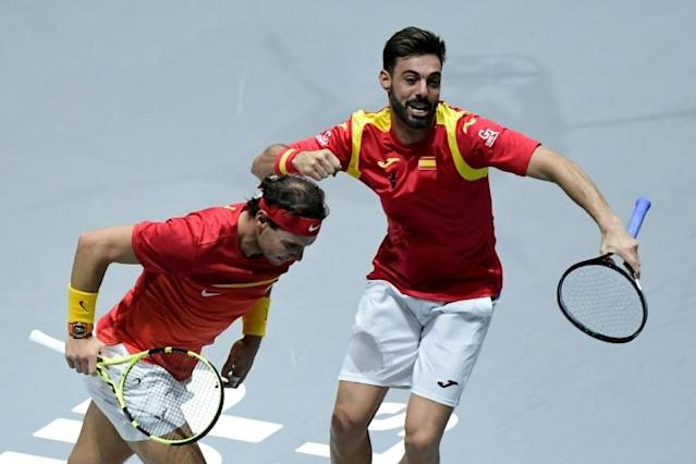 Spain's Rafael Nadal Marcel Granollers celebrate after their decisive doubles win in the Davis Cup quarter-finals over Argentina's Leonardo Mayer and Maximo Gonzalez (AFP Photo/JAVIER SORIANO)