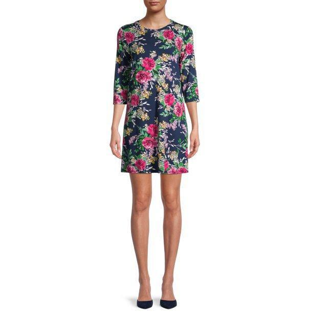 The Pioneer Woman Floral A-Line Knit Dress with 3/4-Sleeves