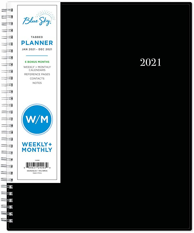 "<h3><a href=""https://amzn.to/2JP9rU6"" rel=""nofollow noopener"" target=""_blank"" data-ylk=""slk:Blue Sky Weekly & Monthly Planner"" class=""link rapid-noclick-resp"">Blue Sky Weekly & Monthly Planner</a></h3><br>This under-$10 planner is top-rated as an Amazon's Choice buy with 4.8 out of 5 stars and reviewers raving, ""I will continue to buy this particular planner because it is so very well organized; gives ample room for notes; every day (whether in the full month-at-a-glance section or daily/weekly section) is ruled to keep notes tidy; is spiral-bound so that it lays flat when open; the pages are a nice heavier weight than you get in most planners (stands up to multiple erasings); and has a heavy-duty cover that doesn't get damaged even through rigorous treatment (and protects the pages inside from getting damaged in that rigorous treatment). I keep track of my bills in the month-at-a-glance section, then I keep track of my calories and exercise in the daily/weekly section. For me, it is an all-in-one planner and I think it is THE BEST planner ever!""<br><br><strong>Blue Sky</strong> 2021 Weekly & Monthly Planner, $, available at <a href=""https://amzn.to/2JP9rU6"" rel=""nofollow noopener"" target=""_blank"" data-ylk=""slk:Amazon"" class=""link rapid-noclick-resp"">Amazon</a>"