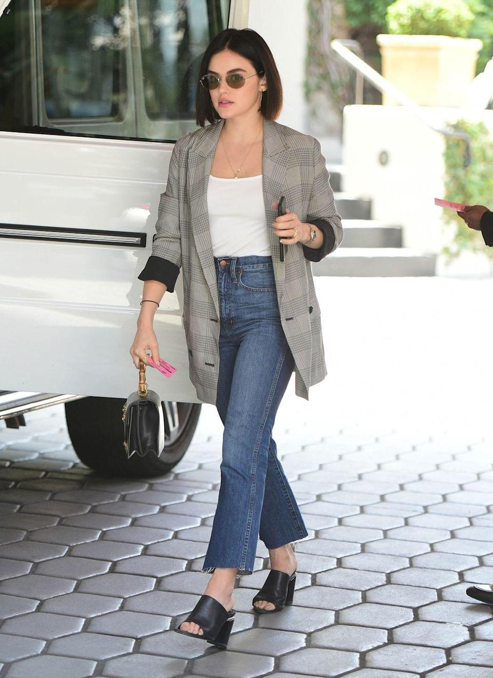 <p>A white tee, jeans, and a plaid blazer – it's an always-chic ensemble that you can wear literally anywhere. </p>