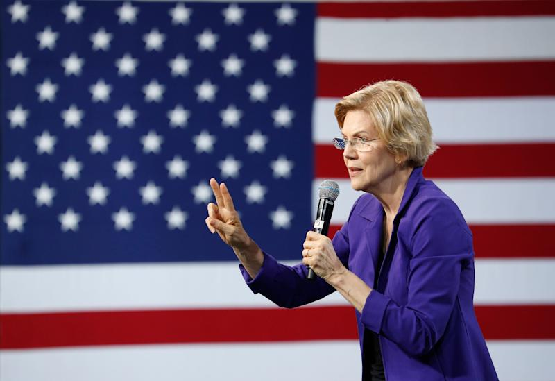 Democratic presidential candidate Sen. Elizabeth Warren, D-Mass., speaks at a Service Employees International Union forum on labor issues, Saturday, April 27, 2019, in Las Vegas. (AP Photo/John Locher)