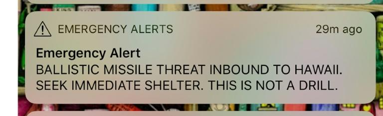 "An emergency alert urging Hawaiians to ""seek immediate shelter"" rattled nerves and sowed confusion before it was confirmed to be a false alarm"