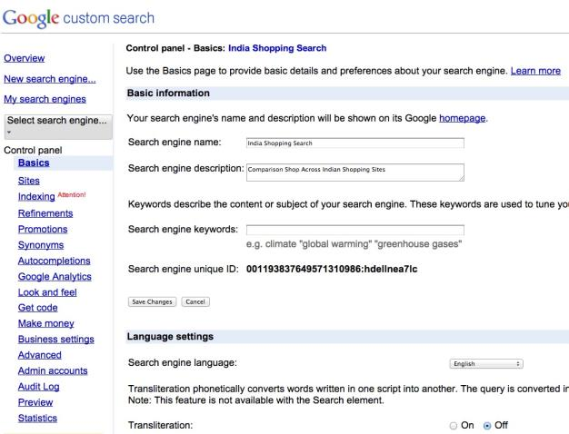 custom search setup