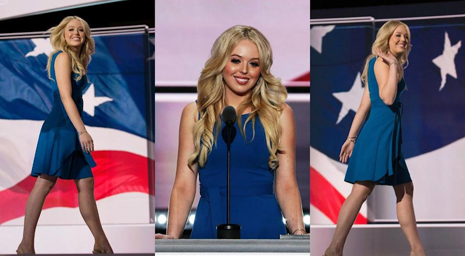 <p>Donning a sleeveless blue dress that featured a modest neckline on night two of the RNC. <i> (Photos: Getty) </i> </p>