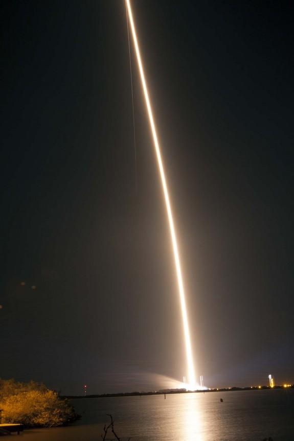 A United Launch Alliance Atlas 5 401 rocket streaks away from Space Launch Complex 41 into the night sky over Cape Canaveral Air Force Station in Florida, carrying NASA's Tracking and Data Relay Satellite-K, TDRS-K, to orbit. Launch was at 8:48