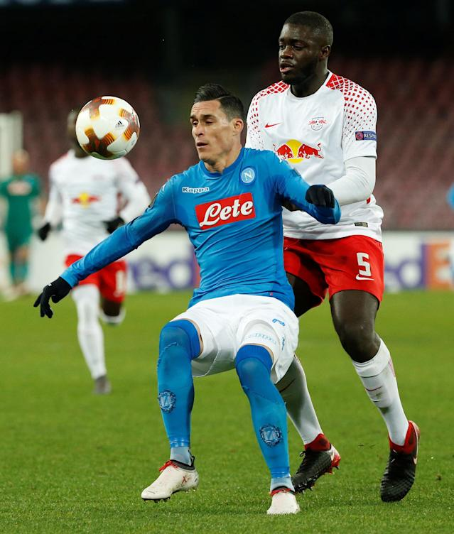 Soccer Football - Europa League Round of 32 First Leg - Napoli vs RB Leipzig - Stadio San Paolo, Naples, Italy - February 15, 2018 Napoli's Jose Callejon in action with RB Leipzig's Dayot Upamecano REUTERS/Ciro De Luca