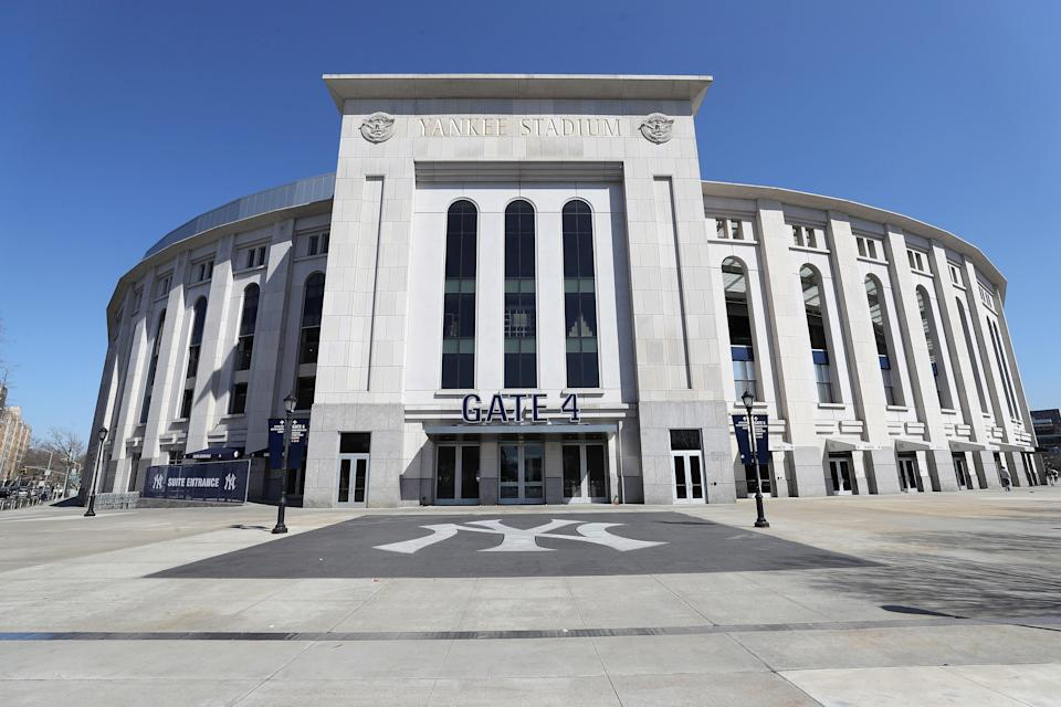 "Yankee Stadium was empty on March 26, the scheduled date for MLB Opening Day. The league <a href=""https://www.mlb.com/covid19resources"" rel=""nofollow noopener"" target=""_blank"" data-ylk=""slk:will only start"" class=""link rapid-noclick-resp"">will only start</a> their season when (or if) the ban on mass gatherings is lifted, there are no travel restrictions within the U.S., and it is medically safe for staff and fans."