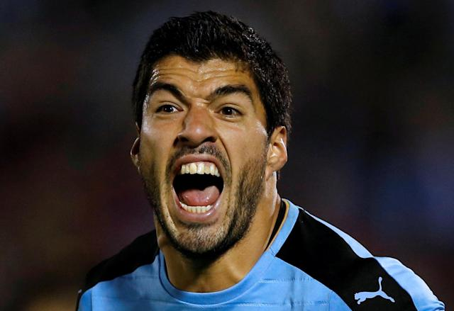 FILE PHOTO: Football Soccer - Uruguay v Venezuela - World Cup 2018 Qualifiers - Centenario stadium - Montevideo, Uruguay. 6/10/16. Uruguay's Luis Suarez reacts. REUTERS/Andres Stapff/File Photo
