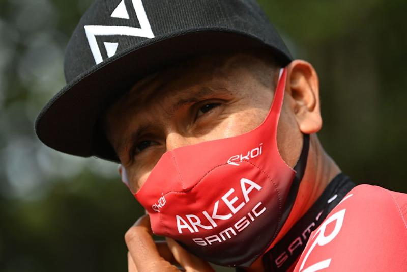 Team Arkea Samsic rider Colombias Nairo Quintana wears a face protective mask as he waits prior to the first stage of the 72nd edition of the Criterium du Dauphine cycling race 2185 km between ClermontFerrand and SaintChristoenJarez on August 12 2020 Photo by AnneChristine POUJOULAT AFP Photo by ANNECHRISTINE POUJOULATAFP via Getty Images