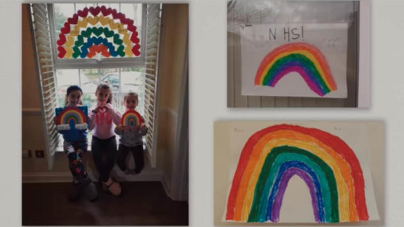 The broadcast included images of rainbows drawn by children for frontline workers. Photo: The Royal Family