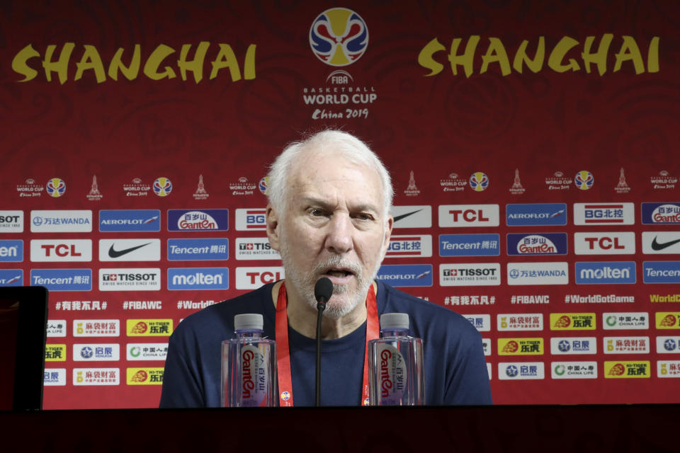 United States' coach Gregg Popovich speaks at a press conference ahead of the team's first match in the FIBA Basketball World Cup at the Shanghai Oriental Sports Center in Shanghai on Sunday, Sept. 1, 2019. (AP Photo/Ng Han Guan)
