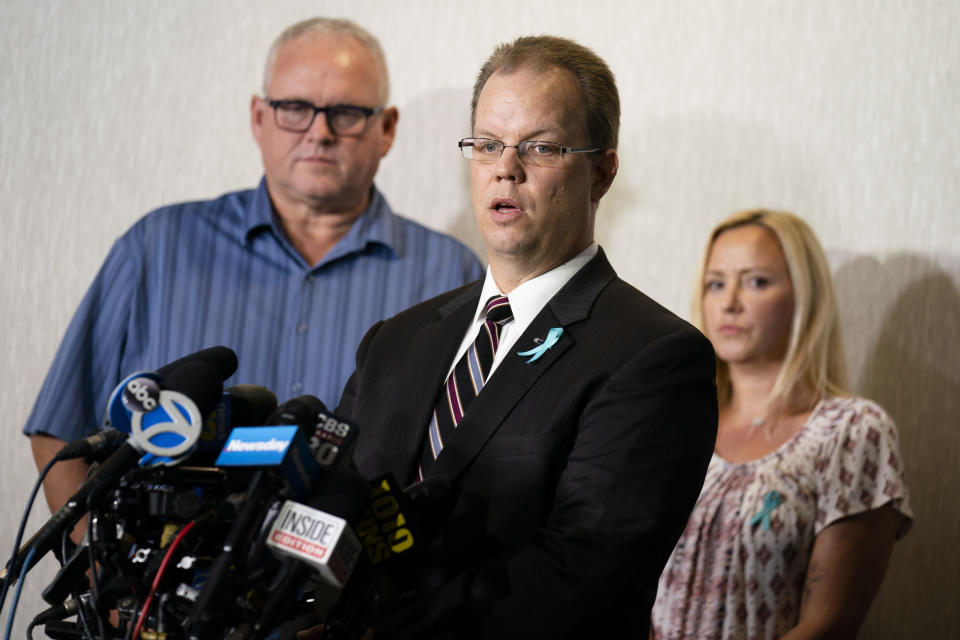 Richard Stafford, attorney for the family of Gabby Petito, whose death on a cross-country trip has sparked a manhunt for her boyfriend Brian Laundrie, speaks during a news conference, Tuesday, Sept. 28, 2021, in Bohemia, N.Y. (AP Photo/John Minchillo)