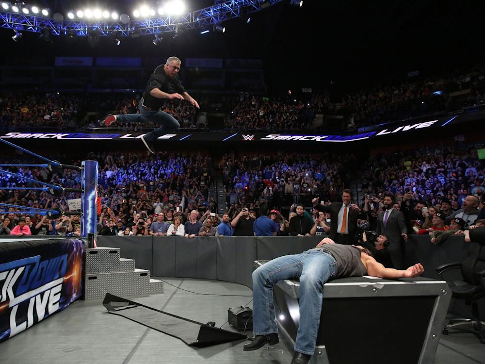 Shane McMahon and AJ Styles meet to end a bitter feud between the pair (WWE)