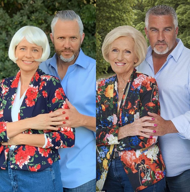"""<p>Raise your hand if you love being the one who get all the laughs at your Halloween party! Try copying Jenna Fischer and her husband Lee Kirk's costume. They dressed up as Mary Berry and Paul Hollywood, the much-loved judges on <em>The Great British Bake Off</em>. Plus, <a href=""""https://www.instagram.com/p/B4TYfdrHoNi/?utm_source=ig_embed"""" rel=""""nofollow noopener"""" target=""""_blank"""" data-ylk=""""slk:their side-by-side IG pic"""" class=""""link rapid-noclick-resp"""">their side-by-side IG pic</a> with the real Mary and Paul is just priceless. </p>"""