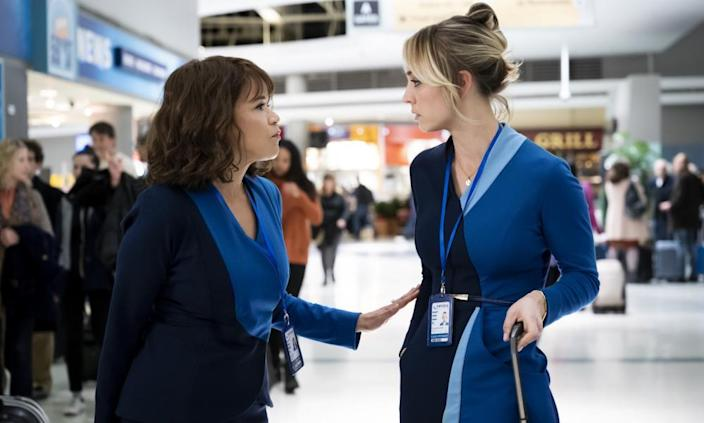 Rosie Perez and Kaley Cuoco in The Flight Attendant.
