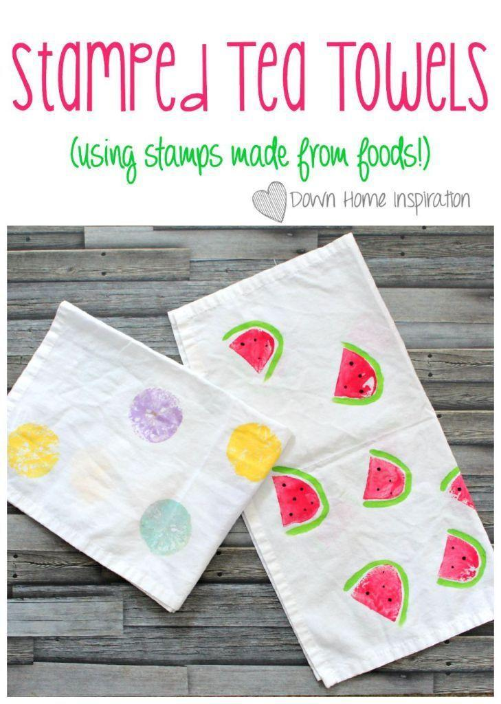 """<p>Finally—an excuse for kids to play with their food. Use lemons, potato slices, and a bit of paint to create the decorative """"stamps."""" </p><p><strong>Get the tutorial at <a href=""""http://www.downhomeinspiration.com/stamped-tea-towels-made-using-food/"""" rel=""""nofollow noopener"""" target=""""_blank"""" data-ylk=""""slk:Down Home Inspiration"""" class=""""link rapid-noclick-resp"""">Down Home Inspiration</a>. </strong></p><p><strong><a class=""""link rapid-noclick-resp"""" href=""""https://www.amazon.com/White-Flour-Sack-Towels-Pack/dp/B00G6TEA32/?tag=syn-yahoo-20&ascsubtag=%5Bartid%7C10050.g.4233%5Bsrc%7Cyahoo-us"""" rel=""""nofollow noopener"""" target=""""_blank"""" data-ylk=""""slk:SHOP TEA TOWELS"""">SHOP TEA TOWELS</a><br></strong></p>"""