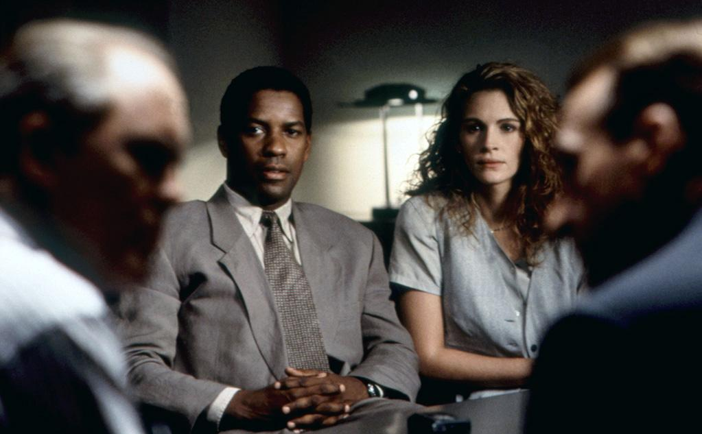 """<a href=""""http://movies.yahoo.com/movie/1800201352/info"""">PELICAN BRIEF</a> (1993)   Washington solidified his standing as a bankable leading man in this John Grisham legal thriller. To research for his part, Denzel reportedly spent months on the beat with journalists from """"The Washington Post."""""""