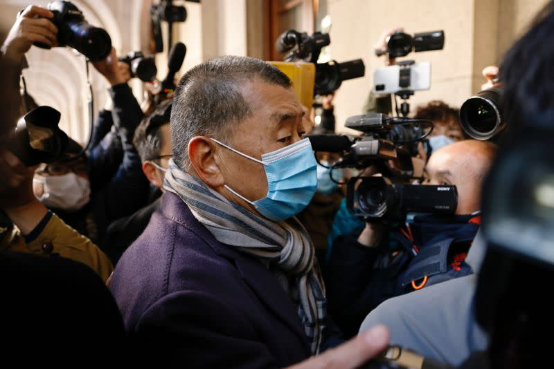 Media mogul Jimmy Lai, founder of Apple Daily, arrives the Court of Final Appeal in Hong Kong