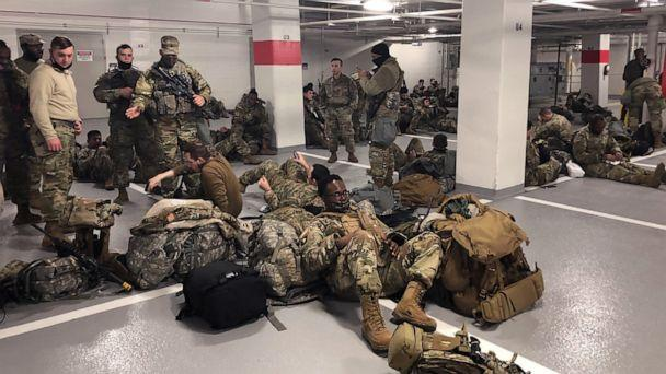 PHOTO: Photos like this one, showing the National Guardsmen resting in a parking garage, after they were ordered to leave the Capitol building following the inauguration on Jan. 20, 2021, sparked outrage among lawmakers. (Sen. Tim Scott)