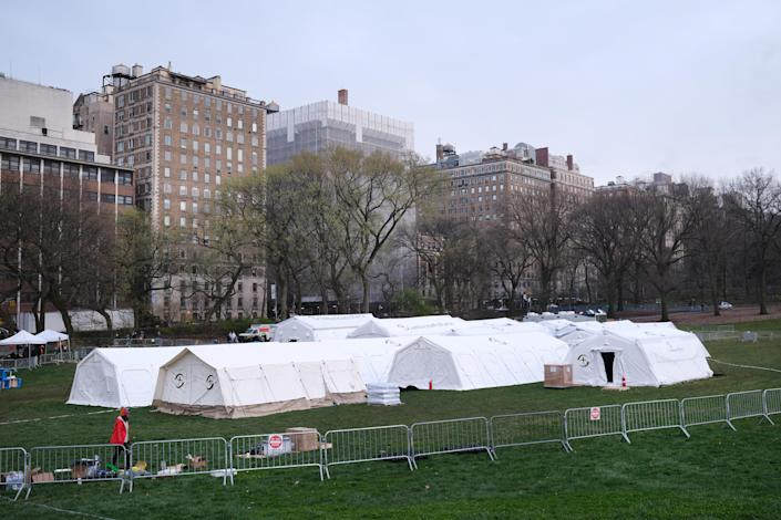 A field hospital in Central Park on Monday. (Spencer Platt/Getty Images)