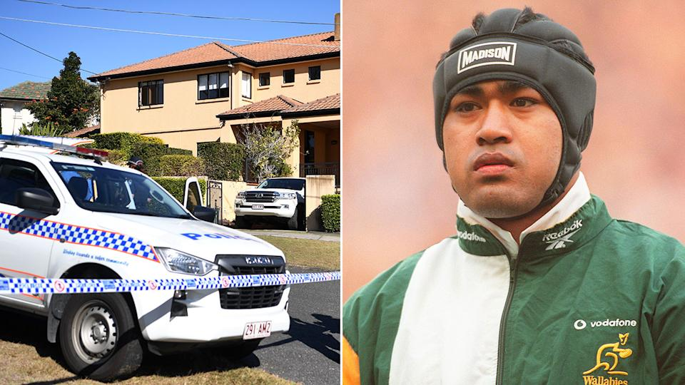 Pictured here, the scene of an alleged home invasion at Wallabies great Toutai Kefu's Brisbane property..