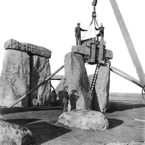 Making repairs to Stonehenge - Credit: English Heritage