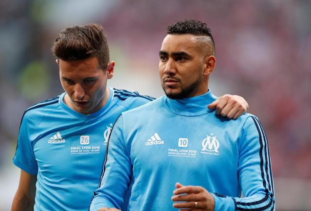Soccer Football - Europa League Final - Olympique de Marseille vs Atletico Madrid - Groupama Stadium, Lyon, France - May 16, 2018 Marseille's Florian Thauvin and Dimitri Payet during the warm up before the match REUTERS/John Sibley