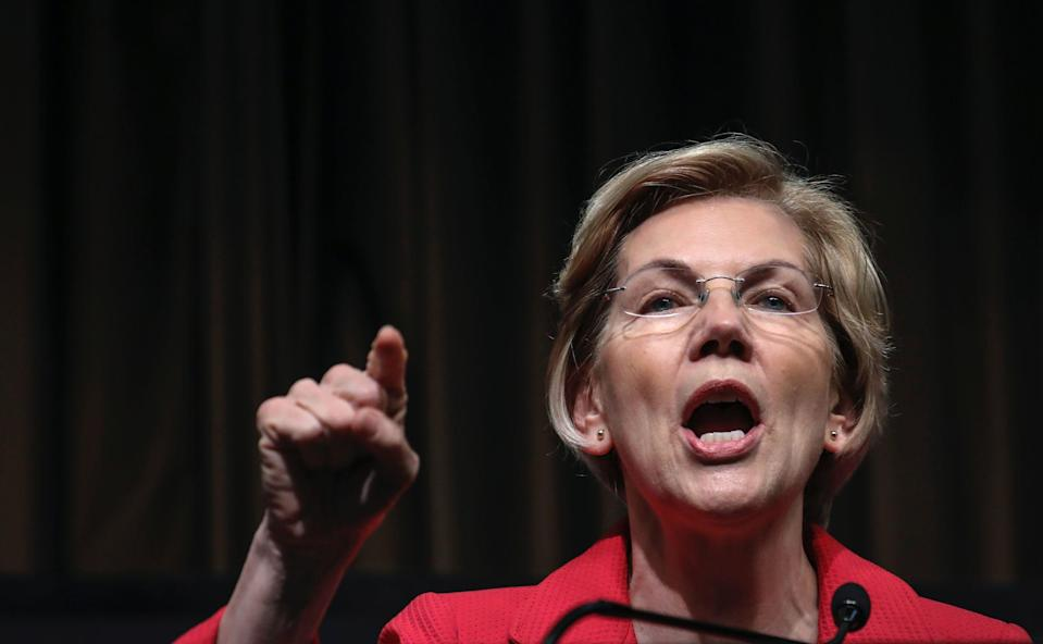 Democratic presidential candidate U.S. Sen. Elizabeth Warren (D-MA) speaks at the National Action Network's annual convention, April 5, 2019 in New York City. (Photo by Drew Angerer/Getty Images)