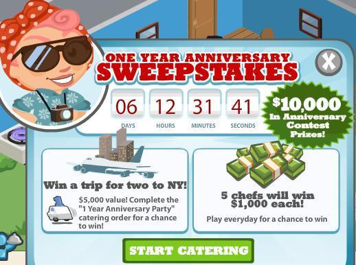 Cafe World One Year Anniversary Sweepstakes