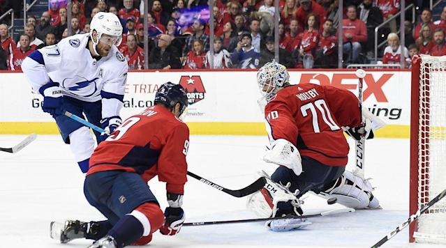 WASHINGTON — Andrei Vasilevskiy made a franchise-record 54 saves, Nikita Kucherov scored twice and the NHL-leading Tampa Bay Lightning won their sixth consecutive game by beating the Washington Capitals 5-4 in overtime Wednesday night in a potential playoff preview.